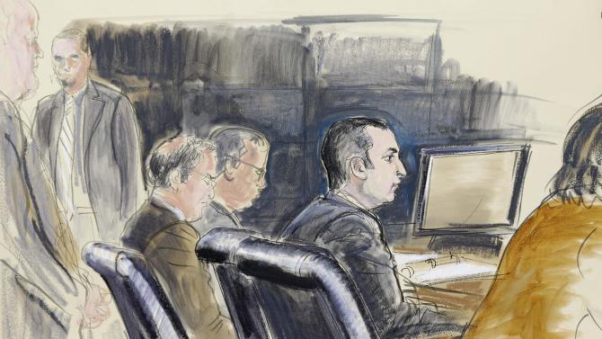 FILE- In this Feb. 25, 2013, courtroom sketch, former New York City Police Officer Gilberto Valle, second right, is seated at federal court in New York. An FBI agent says a New York police officer accused of conspiring with others on the Internet to kill and eat women was cooperative and willing to help the agency catch dangerous people on the Internet, not just those role playing, when he was arrested in October. (AP Photo/Elizabeth Williams, File)