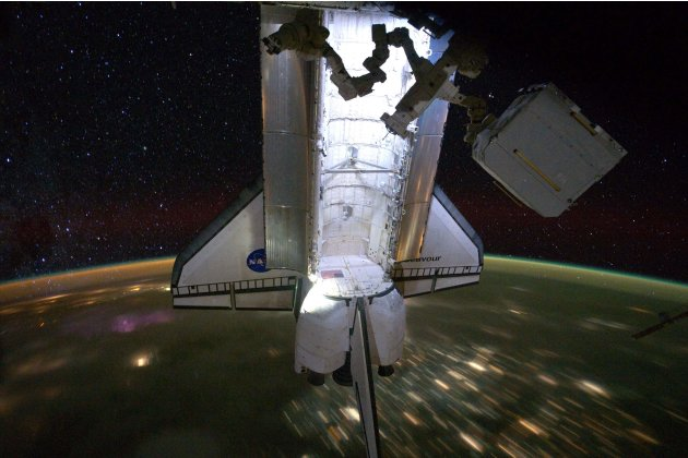 NASA handout photo of Endeavour docked to the ISS