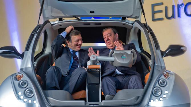 Hiriko Electric Car Is Launched At European Commission HQ