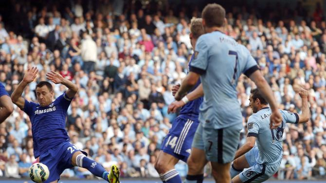 Manchester City's Lampard scores a goal against Chelsea during their English Premier League soccer match at the Etihad stadium in Manchester