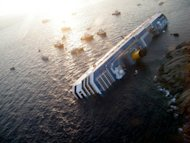 <p>An aerial view of the Costa Concordia, wrecked off the Italian island of Giglio, in January. Experts on Friday refuted claims by Italian Captain Francesco Schettino that he saved lives on the night of the Costa Concondia shipwreck, as pre-trial hearings into the disaster were set to wind up.</p>