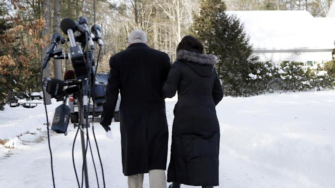 John and Diane Foley walk away after speaking about their son, James Foley, 39, a journalist who was kidnapped in Syria by unknown gunmen on Thanksgiving, after a news conference outside their home in Rochester, N.H., Thursday, Jan. 3, 2013.The Foleys are appealing to his captors for any information about his health and welfare. They said they have not received any information about him in six weeks. (AP Photo/Elise Amendola)