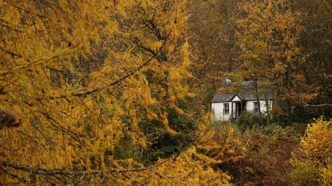 A cottage is seen in autumnal woodland in Glen Lyon, Scotland