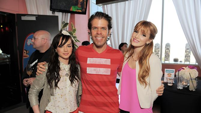 "IMAGE DISTRIBUTED FOR SABAN BRANDS - Ashley Rickards, Perez Hilton and Bella Thorne get together for a photo at the ""Let's Have a Fun Day"" event, on Monday, April, 8th, 2013 in Los Angeles. (Photo by Jordan Strauss/Invision for Saban Brands/AP Images)"