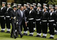 US Secretary of Defense Leon Panetta reviews an honor guard while being welcomed to New Zealand in an official cermony at the Government House in Auckland, on September 21. Panetta flew into New Zealand, the first Pentagon chief to set foot in the country in 30 years, as the two countries seek to revive long-dormant security ties