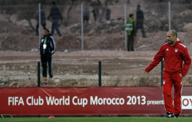 Bayern Munich's head coach Pep Guardiola takes part in the final training session ahead of their Club World Cup soccer match in Agadir