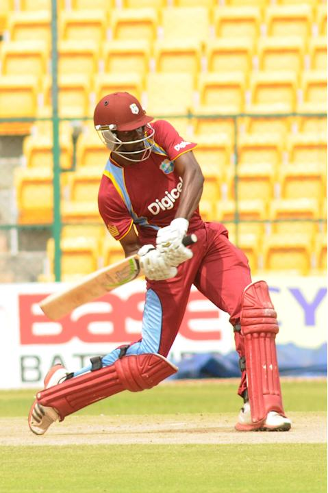 Fletcher of West Indies A team in action against India A team, during  India A team v/s West Indies A team unofficial T-20 cricket match at Chinnaswamy Stadium, in Bangalore on Saturday 21st of Sept.
