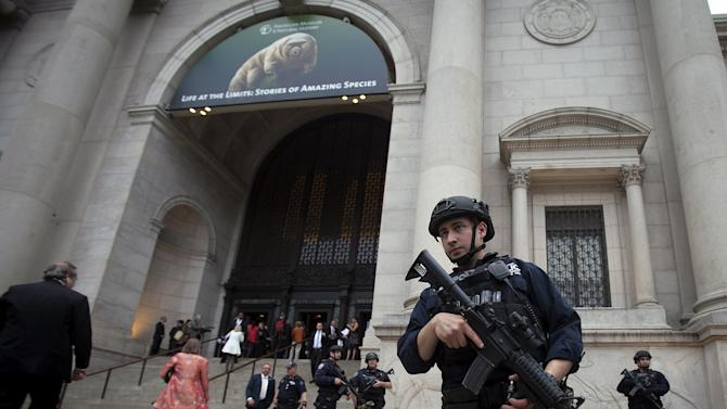 A police officer is pictured outside the PEN Literary Awards at the American Museum of Natural History in New York