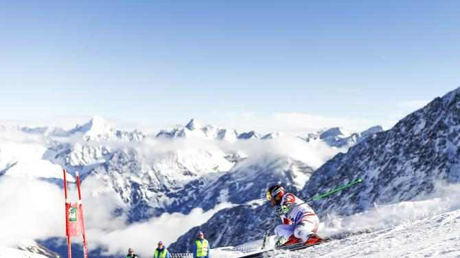 Hirscher of Austria clears a gate during the first run of the World Cup Soelden Men's Giant Slalom race on the Rettenbach glacier in the Tyrolean ski resort of Soelden
