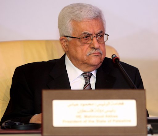Palestinian President Mahmoud Abbas attends the opening of the International Conference on Jerusalem in Doha, Sunday Feb. 26, 2012.  Qatar's ruler says the Arab identity in Jerusalem is threatened by Israeli expansion around the city claimed as capital by both Israel and Palestinians. Sheik Hamad bin Khalifa Al Thani urged a U.N-backed investigation into Israeli settlements as well as Israeli actions in predominantly Arab districts in Jerusalem and surrounding areas captured by the Jewish state in 1967. (AP Photo/Osama Faisal)