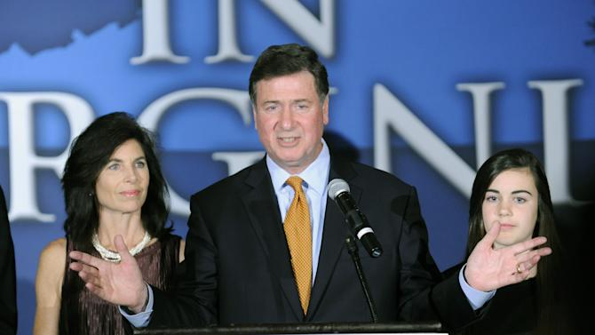 George Allen, with his wife Susan at his side, addresses supporters after conceding at the Republican Party of Virginia post election event at the Omni Hotel in Richmond, Va., on Tuesday, Nov. 6, 2012. Allen was defeated by former Virginia Gov. Tim Kaine. (AP Photo/Clement Britt)