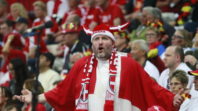 Fan of Denmark reacts during their quarterfinal match against Spain at the 24th Men's Handball World Championship in Doha