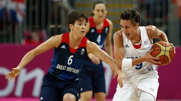 France's Celine Dumerc (R) is guarded by Great Britain's Stef Collins (Reuters)