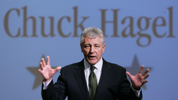 FILE - In this Feb. 21, 2007, file photo, then-Sen. Chuck Hagel, R-Neb., speaks during an appearance at Bellevue University, in Bellevue, Neb. President Barack Obama will nominate Hagel as his next defense secretary, a senior administration official said Sunday, Jan. 6, 2013. The selection of the decorated Vietnam combat veteran sets up a potentially contentious confirmation hearing because Hagel has come under scrutiny from his former colleagues over his positions on Israel and Iran. Some Republicans already have declared their public opposition to Hagel replacing Pentagon chief Leon Panetta in Obama's second-term Cabinet. (AP Photo/Nati Harnik)