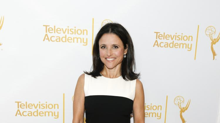 Nominee Louis-Dreyfus poses at the Television Academy's Performers Peer Group cocktail reception to celebrate the 66th Primetime Emmy Awards in Beverly Hills