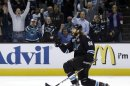 San Jose Sharks&#039; Brent Burns (88) celebrates his goal against the Los Angeles Kings during the first period in Game 4 of their second-round NHL hockey Stanley Cup playoff series in San Jose, Calif., Tuesday, May 21, 2013. (AP Photo/Marcio Jose Sanchez)