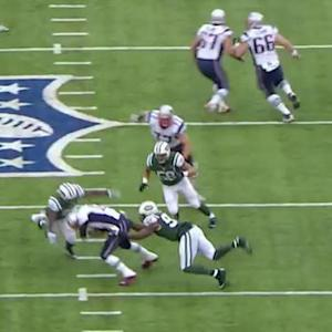 New England Patriots quarterback Tom Brady sacked for 13-yard loss