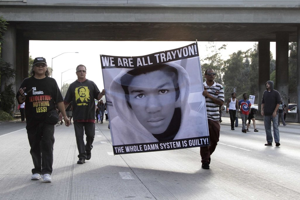 Demonstrators block traffic on the Interstate 10 freeway as they protest the acquittal of George Zimmerman in the Trayvon Martin trial, in Los Angeles