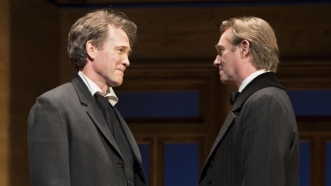 """This undated theater image released by Boneau/Bryan-Brown shows Boyd Gaines, left, and Richard Thomas in a scene from the Broadway play, """"An Enemy of the People,"""" performing at MTC's Samuel J. Friedman Theatre in New York. (AP Photo/Boneau/Bryan-Brown, Joan Marcus)"""