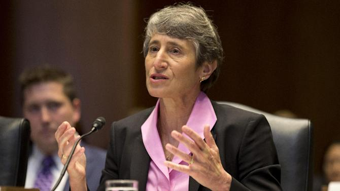 Interior Secretary Sally Jewell testifies on Capitol Hill in Washington, on Thursday, June 6, 2013, before a Senate Energy and Natural Resources Committee hearing to review programs and activities of the Interior Department . (AP Photo/Jacquelyn Martin)