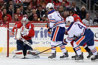 Braden Holtby stretches out for glove save on Oilers odd man rush