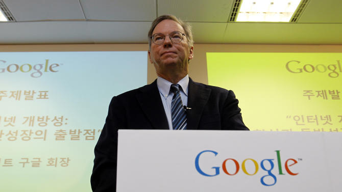 Google chairman Eric Schmidt speaks to the media during a press conference at Google Korea office in Seoul, South Korea, Tuesday, Nov. 8, 2011. Schmidt mourned Steve Jobs' death but defended Google as a great innovator despite the Apple co-founder's allegations that the Internet search giant stole innovations from the iPhone. (AP Photo/Lee Jin-man)