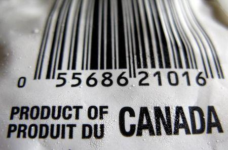 "A ""Product of Canada"" label is seen on a bag of frozen vegetables in Montreal"