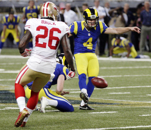 St. Louis Rams kicker Greg Zuerlein, (4) makes a 54-yard field goal as San Francisco 49ers' Tramaine Brock, left, watches during overtime of an NFL football game, Sunday, Dec. 2, 2012, in St. Louis. T