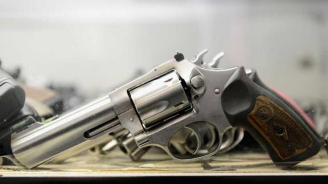 A Smith & Wesson .357 magnum revolver is displayed at the Los Angeles Gun Club.