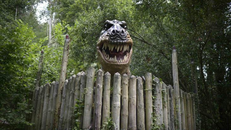 A life sized model of a Tyrannosaurus Rex baring its teeth is seen at the Karpin Abentura park in the Karrantza valley