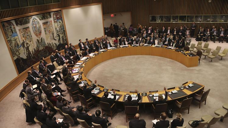 The Security Council votes on a resolution condemning North Korea's rocket launch in December that sent a satellite into orbit, Tuesday, Jan. 22, 2013 at United Nations headquarters.  (AP Photo/Mary Altaffer)