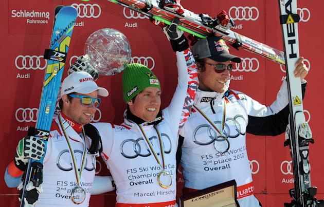 Overall World Cup Winner Austria's Marcel Hirscher (C) Holds AFP/Getty Images