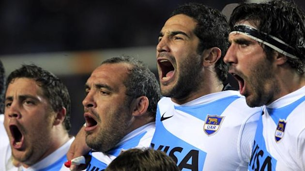 Argentina Los Pumas' (L-R) Eusebio Guinazu, Rodrigo Roncero, Juan Manuel Leguizamon and Juan Martin Fernandez Lobbe sing Argentina's national anthem before their Rugby Championship match against New Zealand All Blacks in La Plata September 29, 2012
