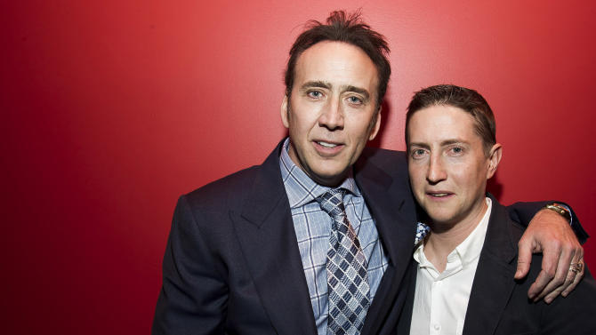 """Actor Nicolas Cage, left, and director David Gordon Green pose for a portrait in promotion of their upcoming film """"Joe"""" on Wednesday, April 9, 2014 in New York. (Photo by Charles Sykes/Invision/AP)"""