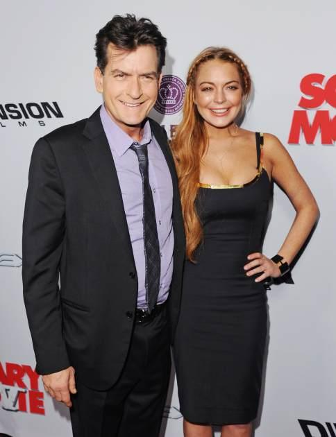 Charlie Sheen and Lindsay Lohan arrive at the premiere 'Scary Movie V' at ArcLight Cinemas Cinerama Dome on April 11, 2013 in Hollywood, Calif. -- Getty Premium