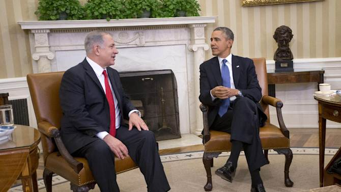 FILE - In this March 3, 2014 file photo, President Barack Obama meets with Israeli Prime Minister Benjamin Netanyahu in the Oval Office of the White House in Washington. Despite deeply strained relations, the president and prime minister stand united on the US-led campaign to defeat Islamic State extremists. (AP Photo/Pablo Martinez Monsivais, File)