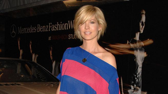 Jenna Elfman arrives at the Mercedes Benz Fashion Week Fall 2008 held at Smashbox Studios on March 9, 2008 in Culver City, Californi