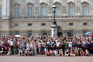 Royal Baby Fans Gather Outside St. Mary's Hospital, Buckingham Palace