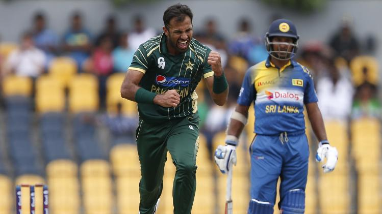 Pakistan's Riaz celebrates after taking the wicket of Sri Lanka's Tharanga during their first ODI cricket match in Hambantota