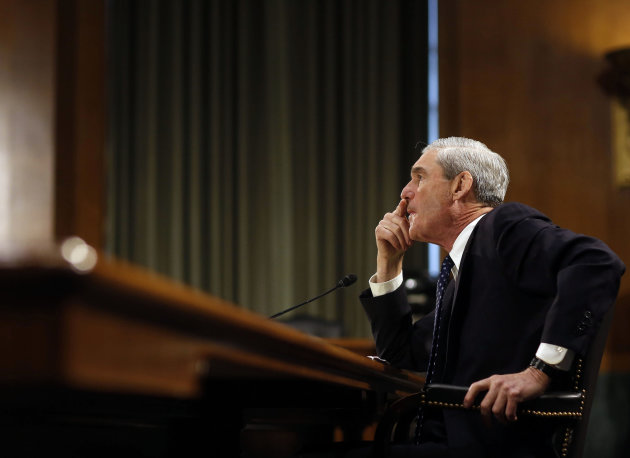 Robert Mueller listens to question at the U.S. Senate Judiciary Committee at an oversight hearing about the FBI on Capitol Hill in Washington
