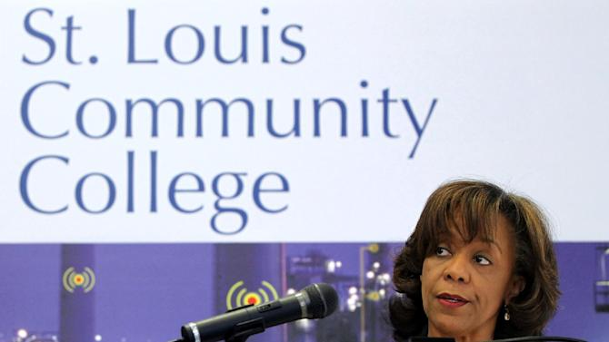St. Louis Community College Chancellor Myrtle Dorsey speaks during a visit to the Florissant Valley campus by U.S. Secretary of Labor Hilda Solis on Wednesday, Oct. 10, 2012. The school's Advanced Manufacturing Center received a $14.9 million federal grant to upgrade training for new age manufacturing jobs.(AP Photo/St. Louis Post-Dispatch, Christian Gooden)