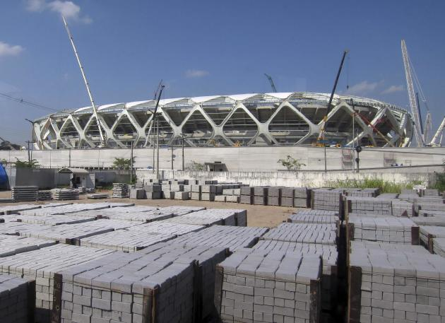 Bricks to be used in the public plaza are laid outside the Arena Amazonia stadium as work continues in preparation for the 2014 FIFA World Cup soccer championship in Manaus