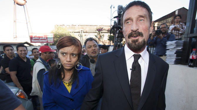 McAfee says he plans to seek asylum in Guatemala