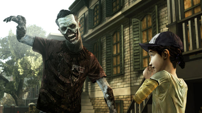 """his undated publicity photo provided by  Telltale Games shows a scene from the video game, """"The Walking Dead: The Game."""" A pair of assassins, a horde of zombies and an intergalactic commander are facing off against a scarf-clad wanderer at the 2012 Spike Video Game Awards. """"Assassin's Creed III,"""" """"Dishonored,"""" """"The Walking Dead: The Game"""" and """"Mass Effect 3"""" are competing to become game of the year against """"Journey,"""" the artsy downloadable game that leads the 10th annual ceremony's nominees with seven nods. (AP Photo/Telltale Games)"""