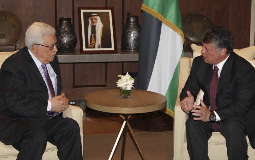 Jordan's King Abdullah meets with Palestinian President Mahmoud Abbas at the Royal Palace in Amman