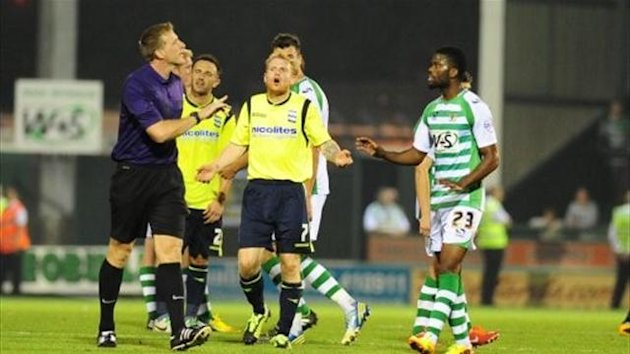 Birmingham City's Chris Burke (centre) leads the protests after Yeovil equalise (PA Sport)