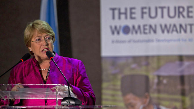 "Chile's former President and head of UN Women Michelle Bachelet speaks at ""The Future Women Want"" conference, a parallel event to the United Nations Conference on Sustainable Development or Rio+20, in Rio de Janeiro, Brazil, Thursday, June 21, 2012. (AP Photo/Silvia Izquierdo)"