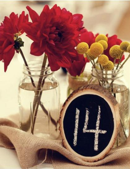 Chalkboard Tree Slice Table Numbers