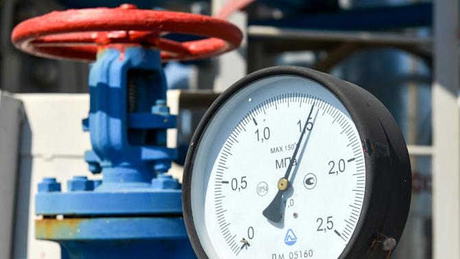 A picture shows a pressure gauge at a compressor station of Ukraine's Naftogaz national oil and gas company near the northeastern Ukrainian city of Kharkiv on August 5, 2014