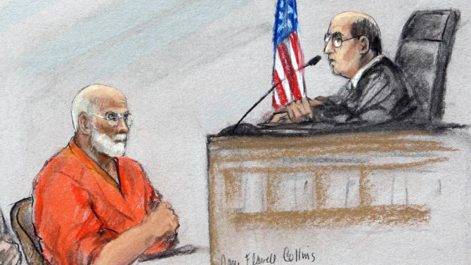 """This courtroom sketch depicts James """"Whitey"""" Bulger before U.S. District Judge Mark Wolf during a hearing in a federal courtroom in Boston Tuesday, June 28, 2011.  Prosecutors dismissed a 1994 racketeering indictment against Bulger in order to focus on a later indictment that charged the newly captured fugitive with being involved in 19 murders. (AP Photo/Jane Flavell Collins)"""